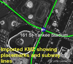 KMZ Placemarks for New York Subway system shown in ExpertGPS Pro, prior to conversion to ESRI shapefiles