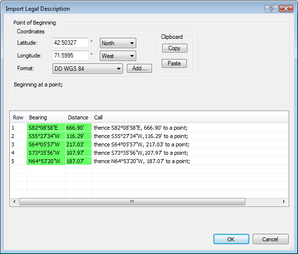 Import metes and bounds legal descriptions into ExpertGPS Pro map software and send to your GPS