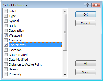 Select data columns in ExpertGPS map software