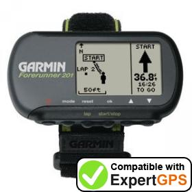 Download your Garmin Forerunner 201 waypoints and tracklogs and create maps with ExpertGPS