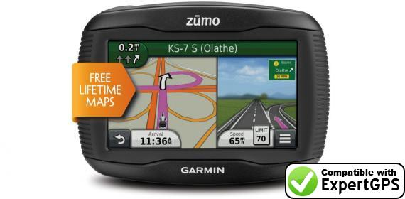 Download your Garmin zumo 390LM waypoints and tracklogs and create maps with ExpertGPS