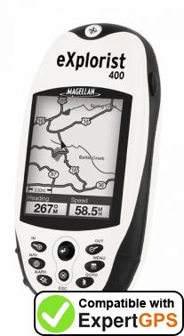 Download your Magellan eXplorist 400 waypoints and tracklogs and create maps with ExpertGPS