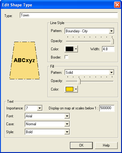 Edit Shape Type Dialog