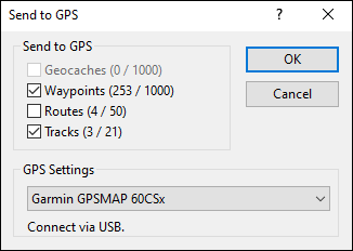 Send to GPS dialog