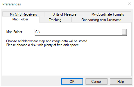 The Map Folder location can be changed by clicking Preferences on the Edit menu.
