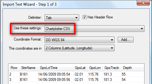 Saved CSV settings