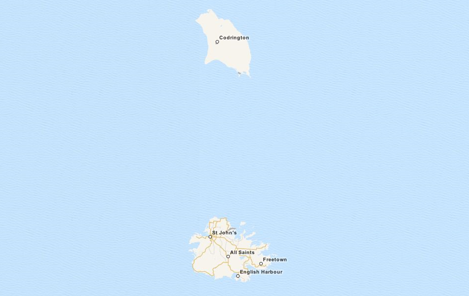 Map of Antigua and Barbuda in ExpertGPS GPS Mapping Software