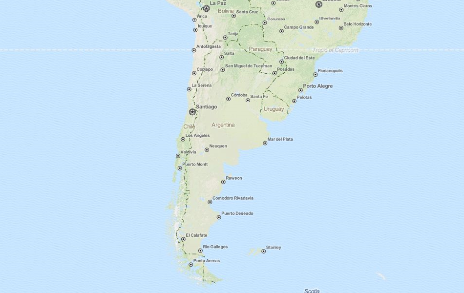 Map of Argentina in ExpertGPS GPS Mapping Software