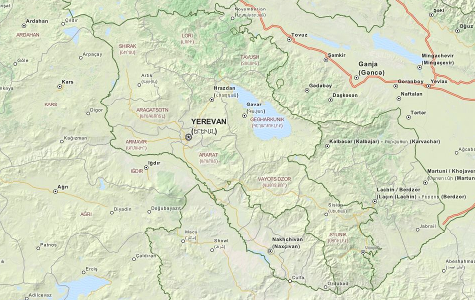 Map of Armenia in ExpertGPS GPS Mapping Software