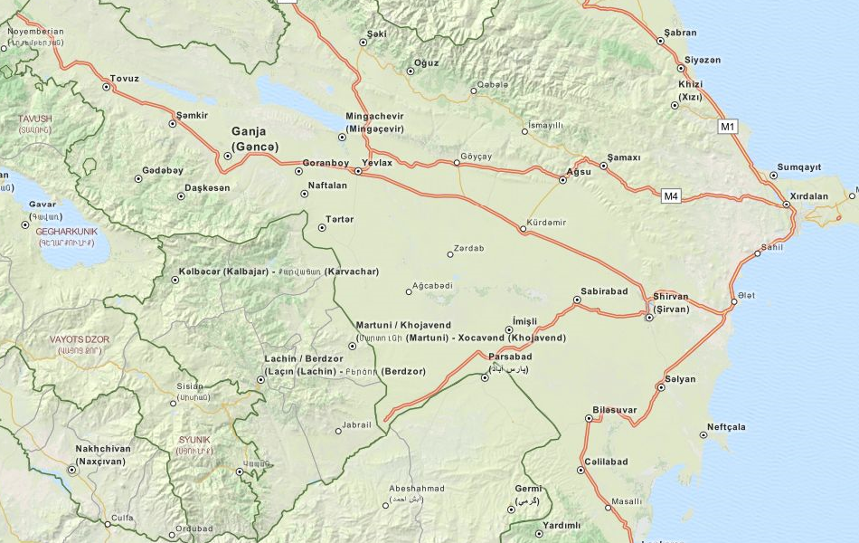 Map of Azerbaijan in ExpertGPS GPS Mapping Software