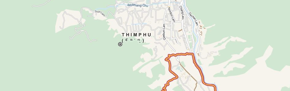 Map of Bhutan in ExpertGPS GPS Mapping Software