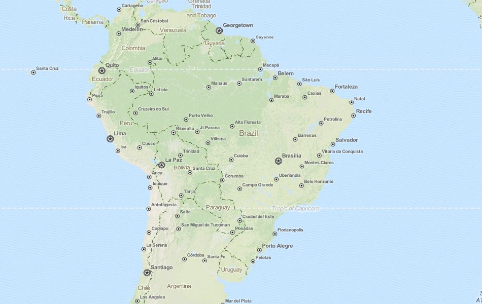 Map of Brazil in ExpertGPS GPS Mapping Software