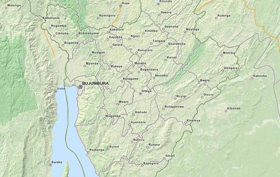 Map of Burundi in ExpertGPS GPS Mapping Software