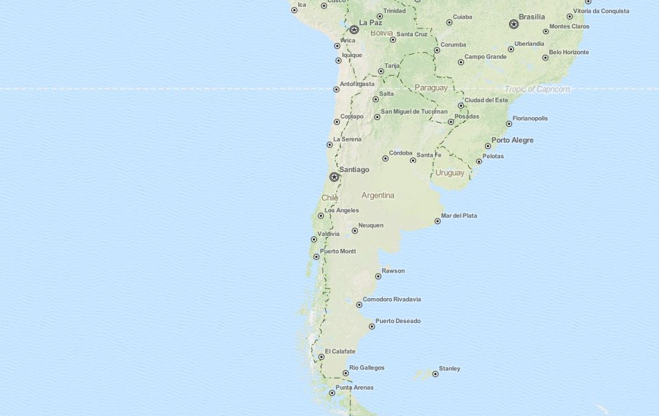 Map of Chile in ExpertGPS GPS Mapping Software