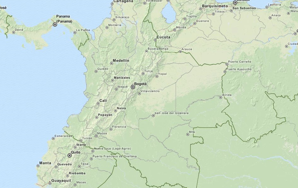 Map of Colombia in ExpertGPS GPS Mapping Software