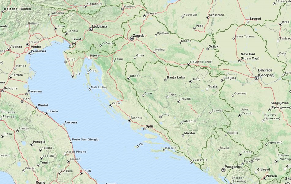 Map of Croatia in ExpertGPS GPS Mapping Software