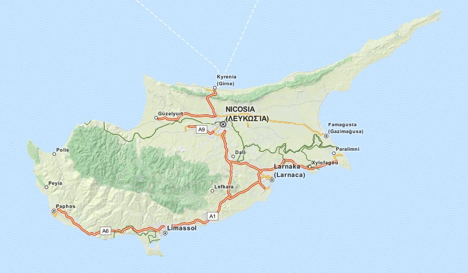 Map of Cyprus in ExpertGPS GPS Mapping Software