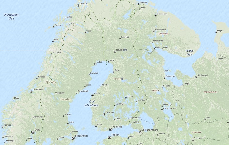 Map of Finland in ExpertGPS GPS Mapping Software