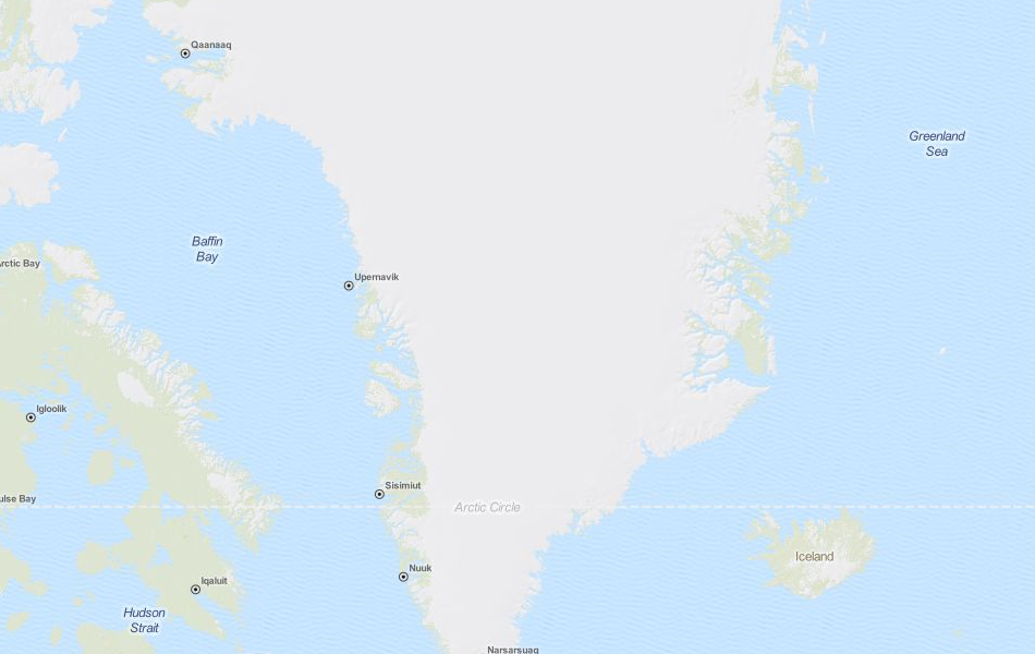 Map of Greenland in ExpertGPS GPS Mapping Software