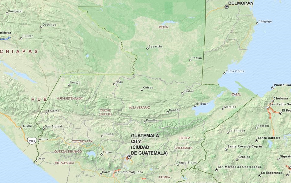 Map of Guatemala in ExpertGPS GPS Mapping Software
