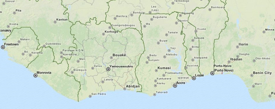 Map of Guinea in ExpertGPS GPS Mapping Software