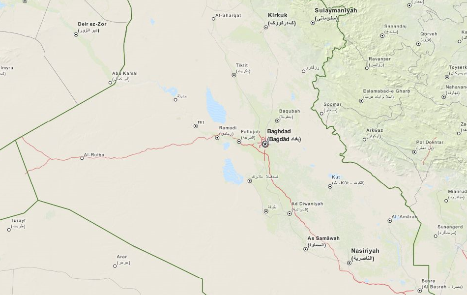 Map of Iraq in ExpertGPS GPS Mapping Software