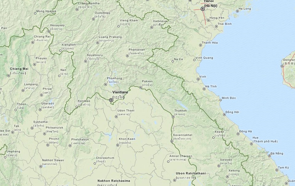 Map of Laos in ExpertGPS GPS Mapping Software