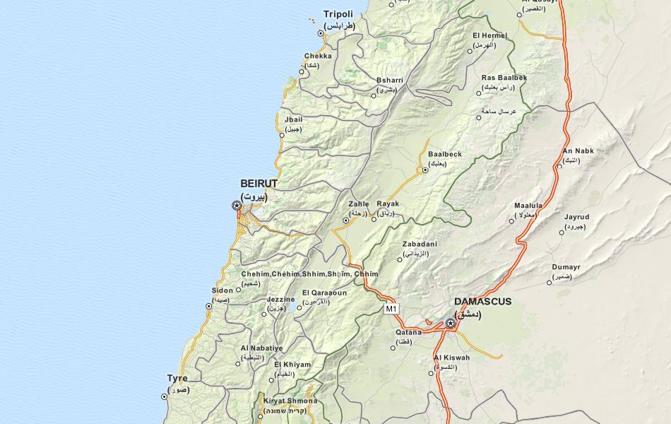 Map of Lebanon in ExpertGPS GPS Mapping Software