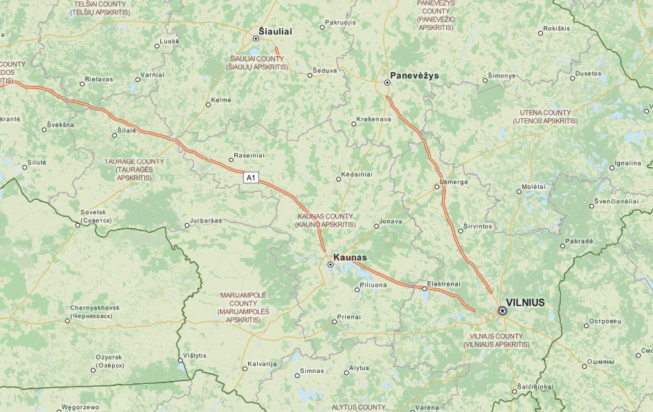Map of Lithuania in ExpertGPS GPS Mapping Software