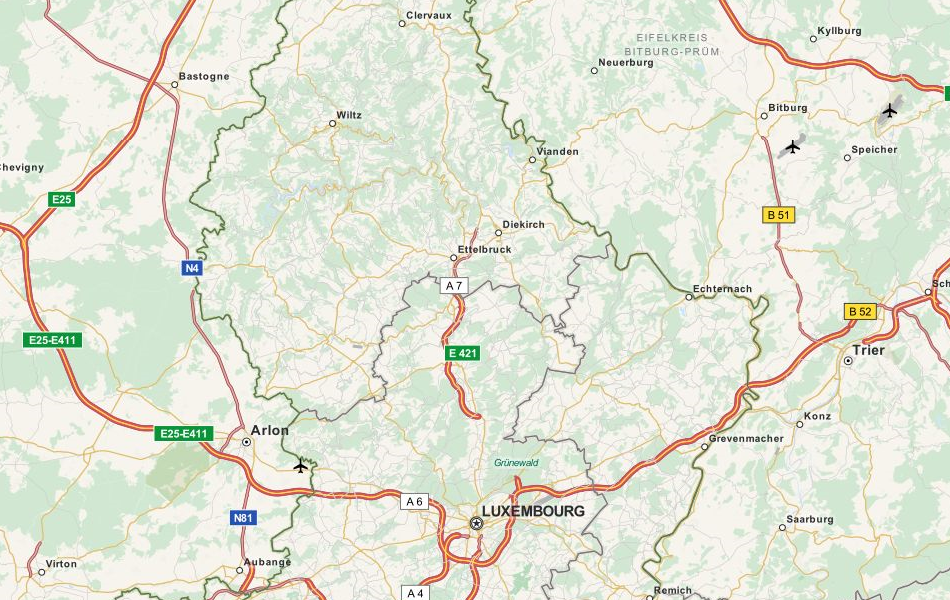 Map of Luxembourg in ExpertGPS GPS Mapping Software