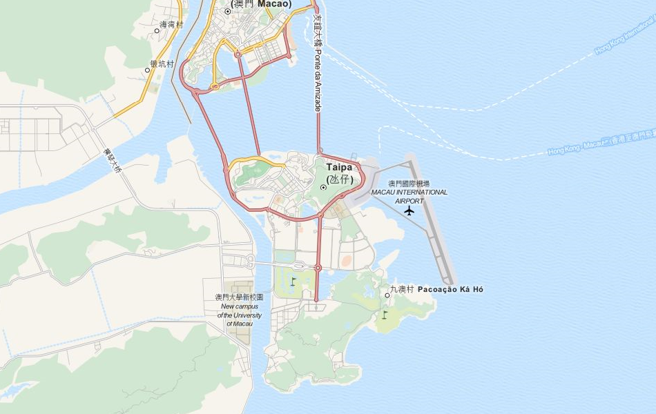 Map of Macau in ExpertGPS GPS Mapping Software