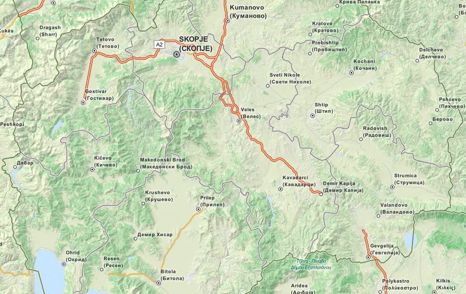 Map of Macedonia in ExpertGPS GPS Mapping Software