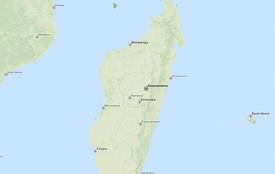 Map of Madagascar in ExpertGPS GPS Mapping Software