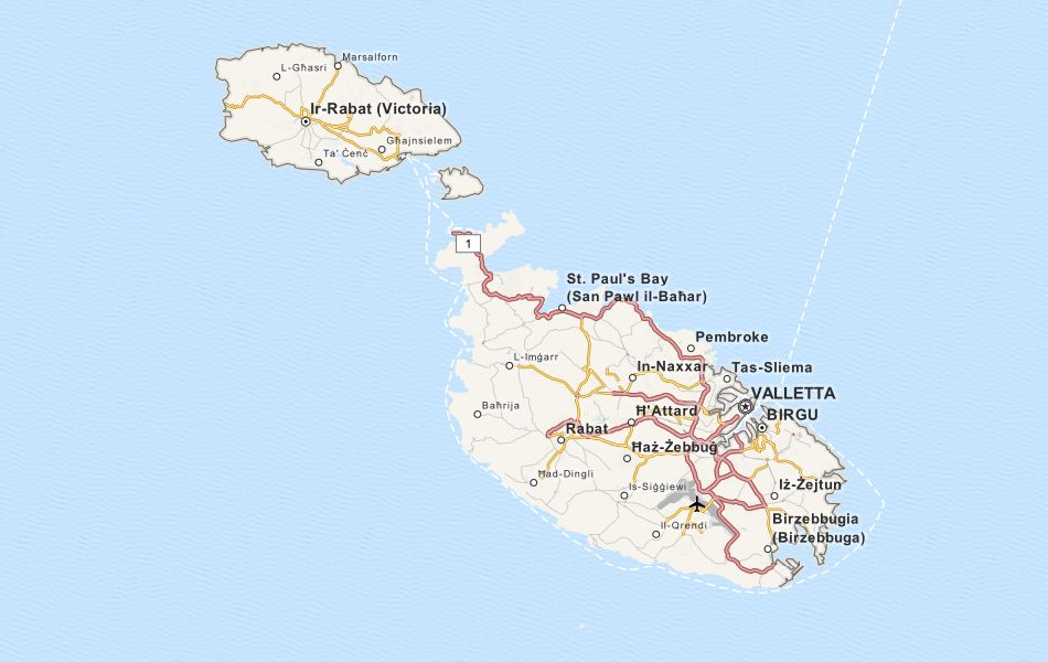 Map of Malta in ExpertGPS GPS Mapping Software