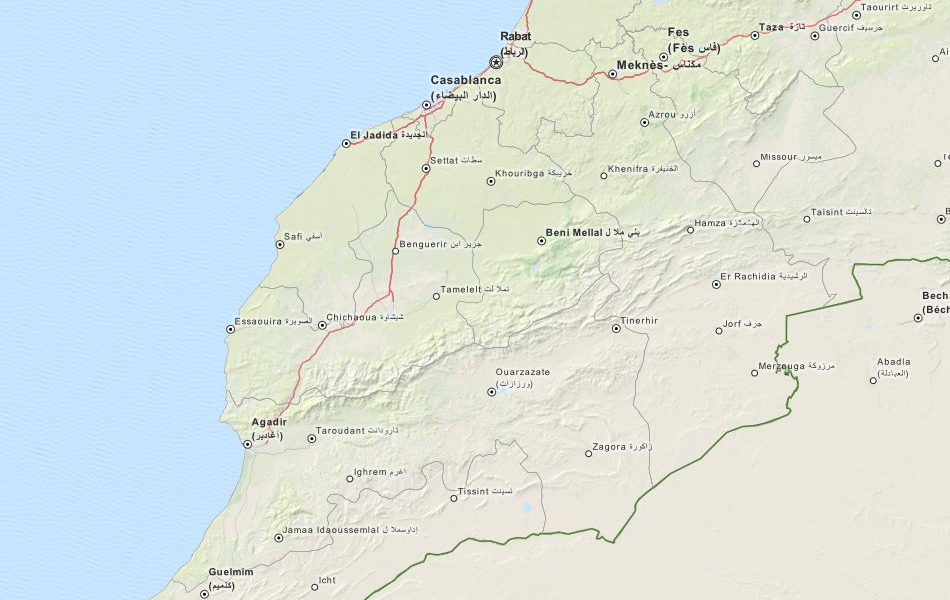 Map of Morocco in ExpertGPS GPS Mapping Software