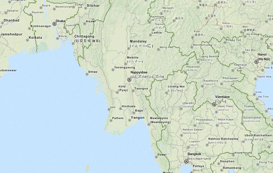 Map of Myanmar in ExpertGPS GPS Mapping Software