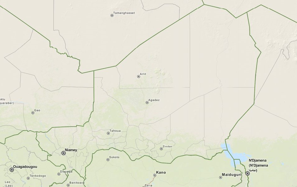 Map of Niger in ExpertGPS GPS Mapping Software