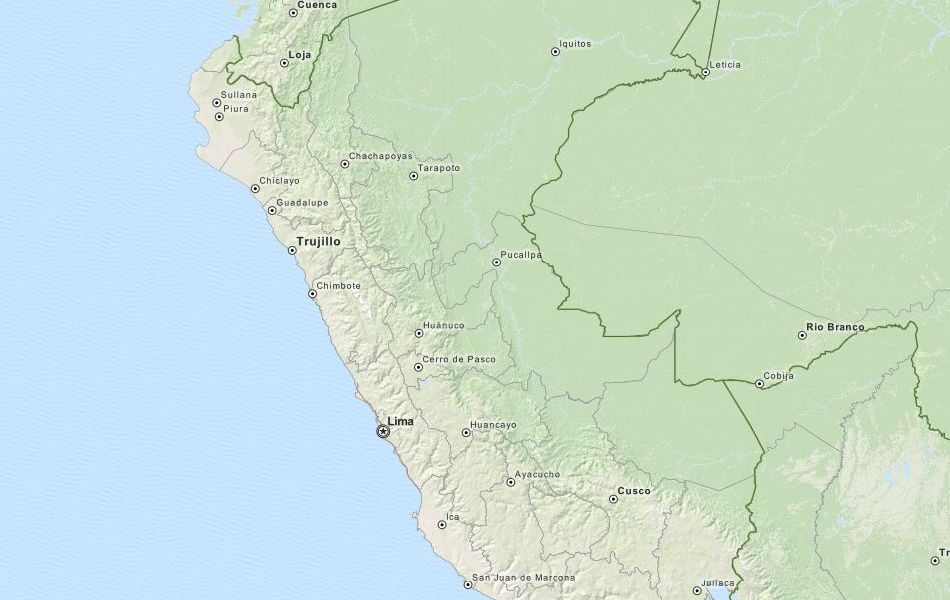Map of Peru in ExpertGPS GPS Mapping Software