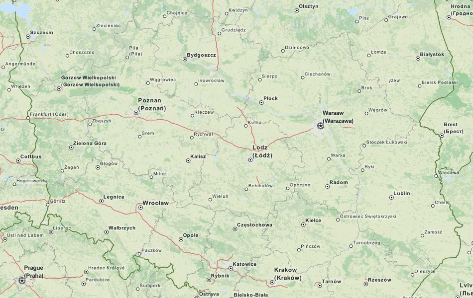 Map of Poland in ExpertGPS GPS Mapping Software