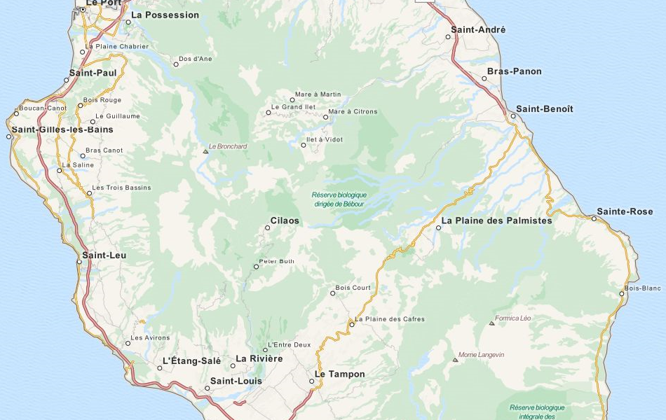 Map of Reunion in ExpertGPS GPS Mapping Software