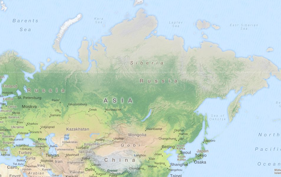 Map of Russia in ExpertGPS GPS Mapping Software