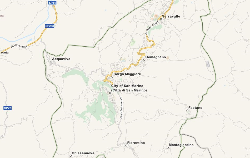 Map of San Marino in ExpertGPS GPS Mapping Software