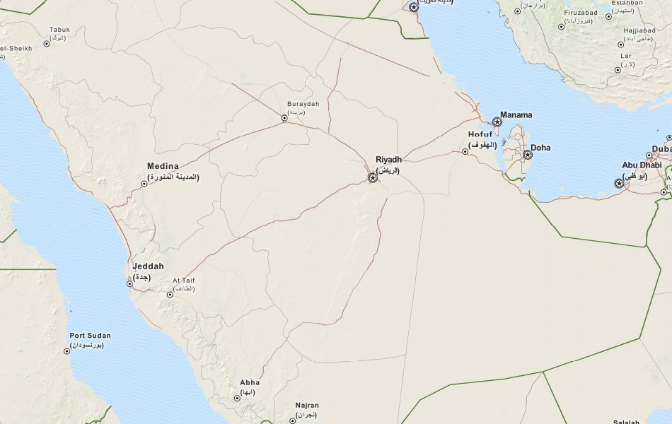 Map of Saudi Arabia in ExpertGPS GPS Mapping Software