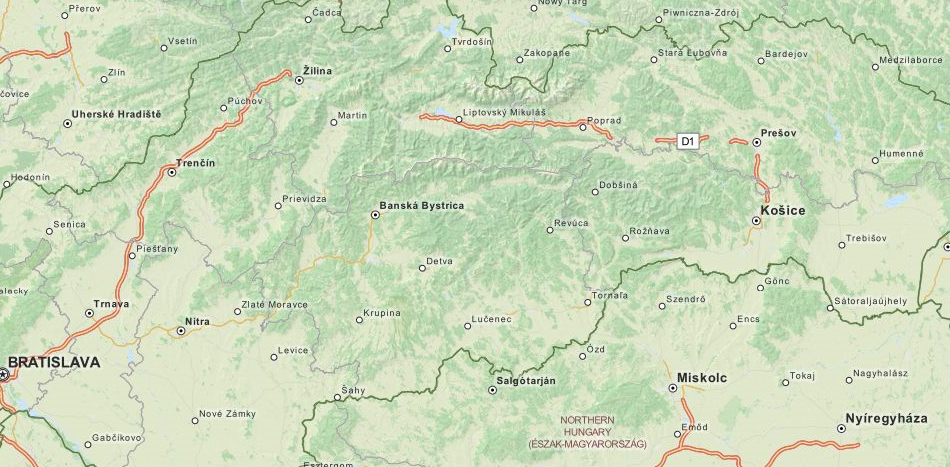 Map of Slovakia in ExpertGPS GPS Mapping Software
