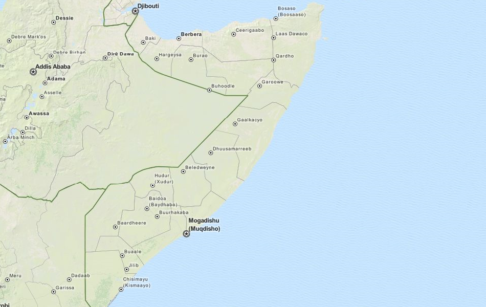 Map of Somalia in ExpertGPS GPS Mapping Software