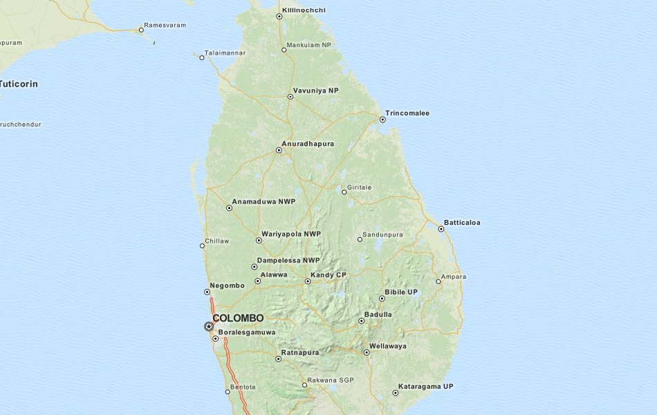 Map of Sri Lanka in ExpertGPS GPS Mapping Software