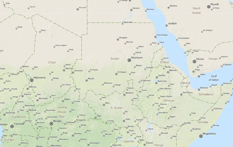Map of Sudan in ExpertGPS GPS Mapping Software