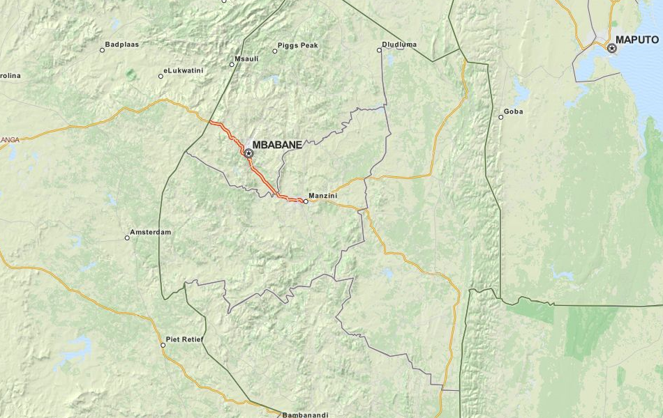 Map of Swaziland in ExpertGPS GPS Mapping Software