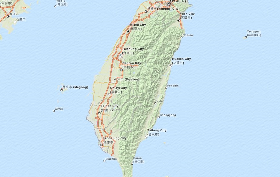 Map of Taiwan in ExpertGPS GPS Mapping Software