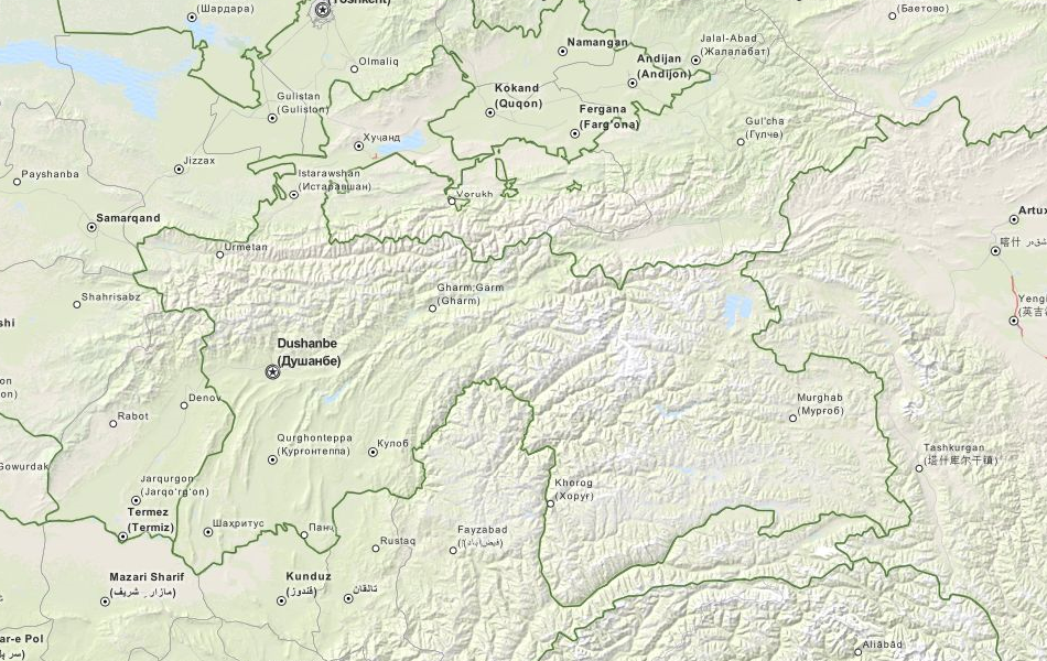 Map of Tajikistan in ExpertGPS GPS Mapping Software